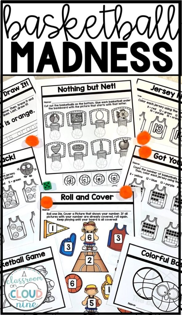 Kindergarten Basketball Madness Themed Activities for March