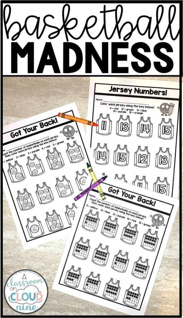 Kindergarten Basketball Madness Printables for March