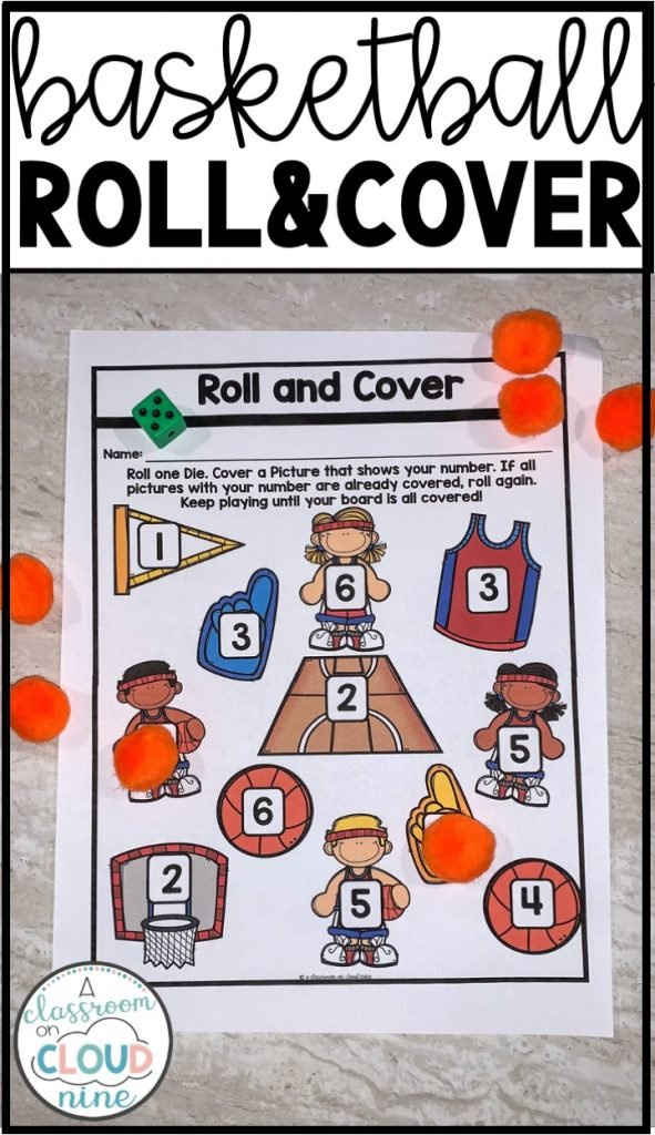 Kindergarten Basketball Madness Roll and Cover Hands On Math Center for March